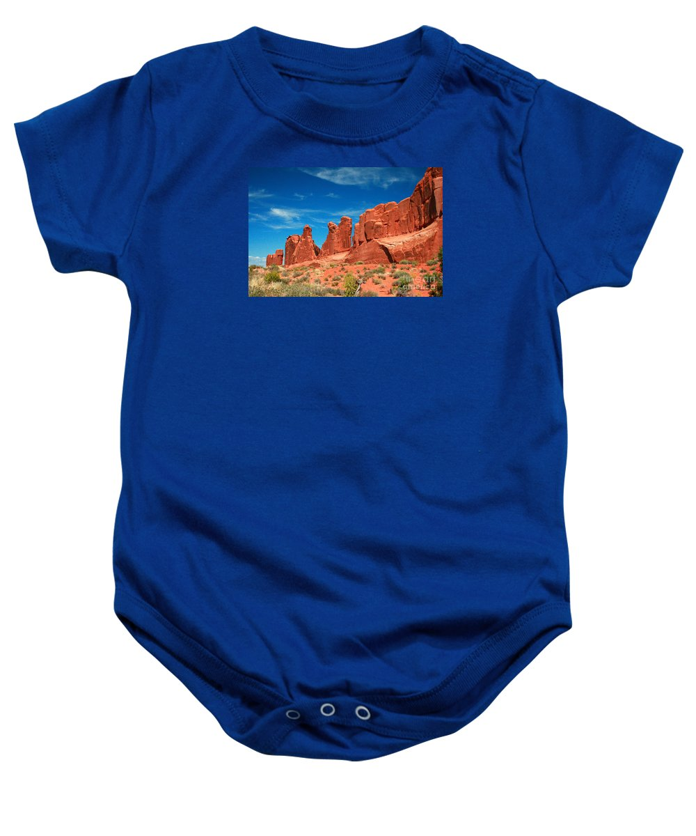 Park Avenue Baby Onesie featuring the painting Park Avenue, Arches National Park by Corey Ford