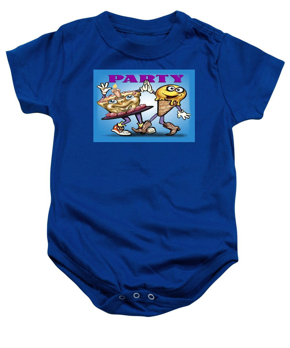 Party Baby Onesie featuring the greeting card Party by Kevin Middleton