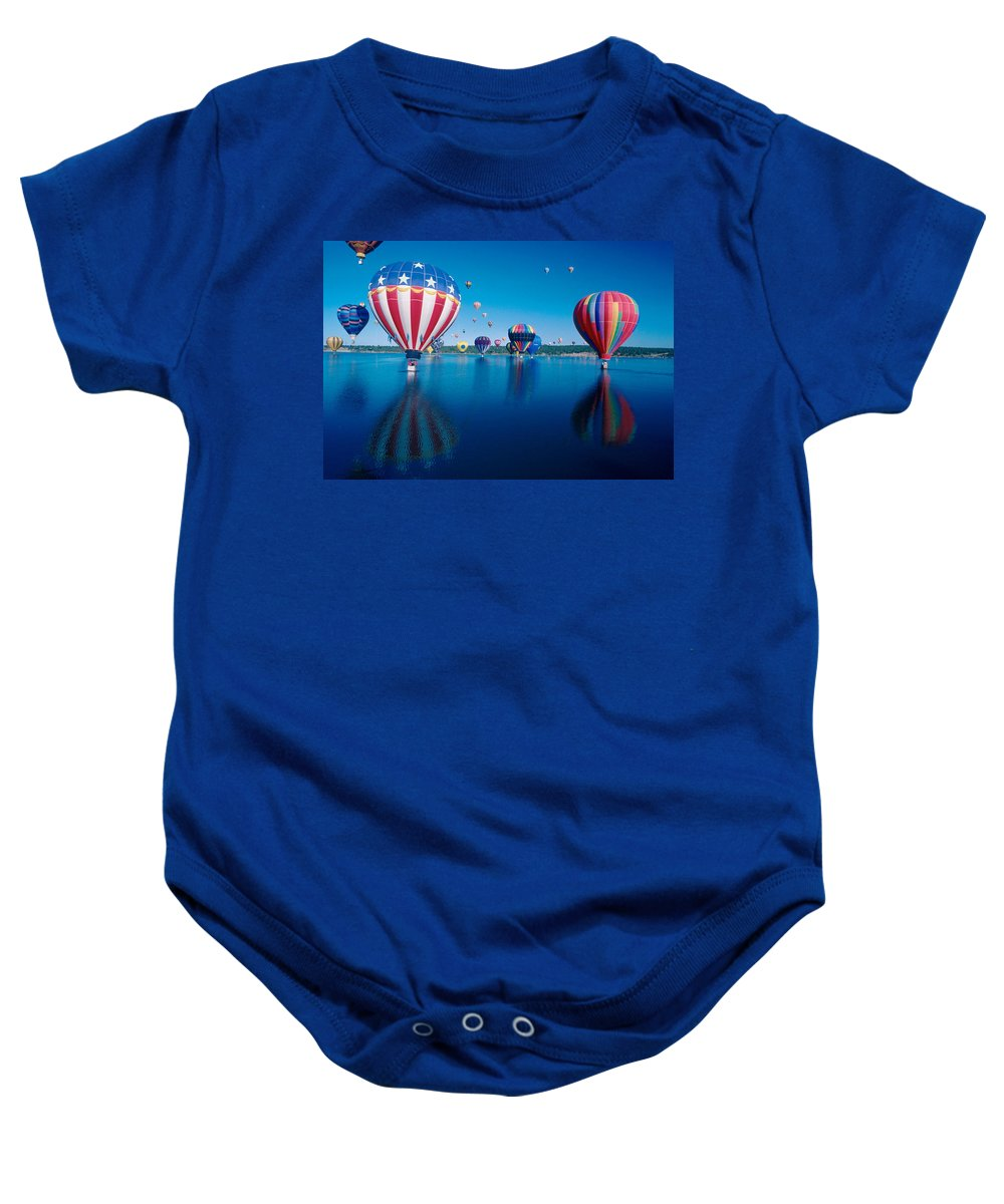 Hot Air Balloons Baby Onesie featuring the photograph Patriotic Hot Air Balloon by Jerry McElroy