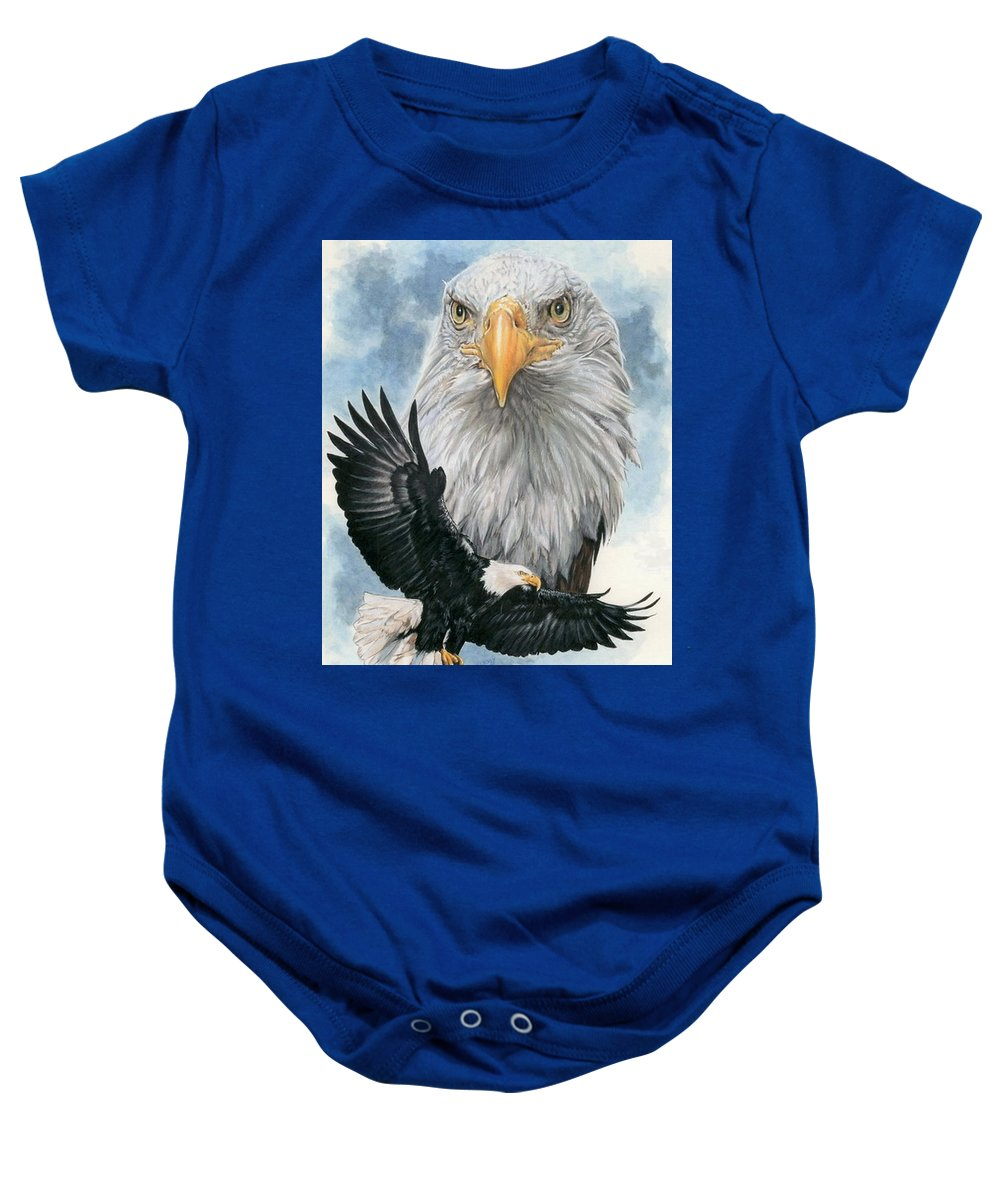 Bald Eagle Baby Onesie featuring the mixed media Peerless by Barbara Keith