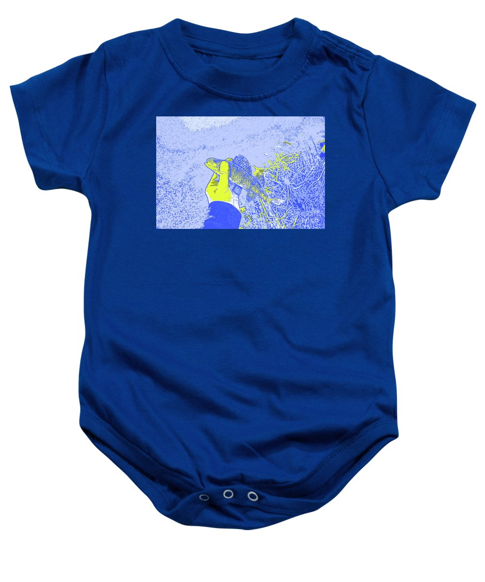 Perch Blue Yellow Baby Onesie featuring the digital art Perch Blue Yellow by Chris Taggart