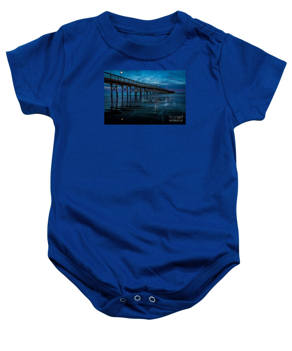Pier Baby Onesie featuring the photograph Pier At Dusk by David Smith