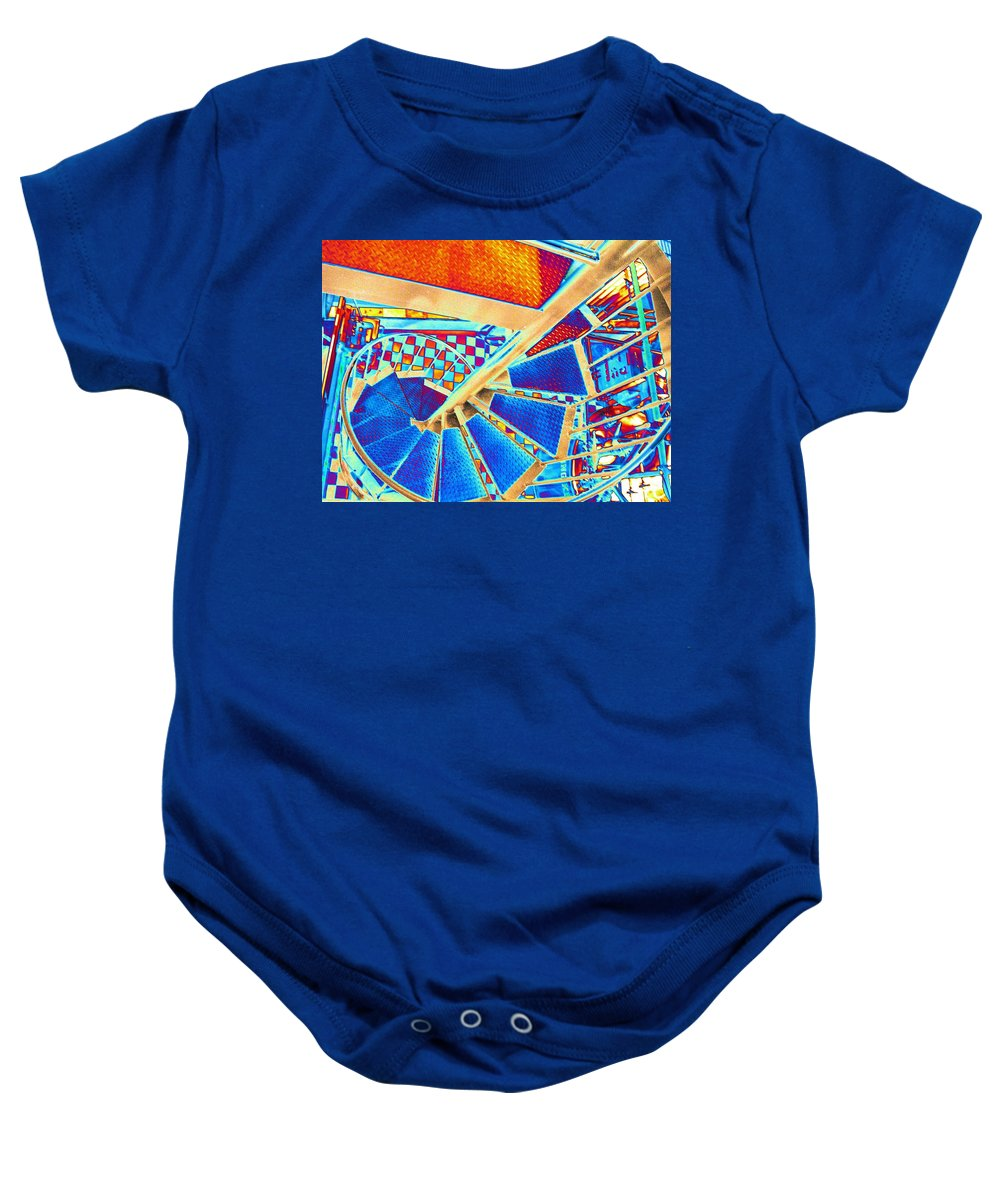 Seattle Baby Onesie featuring the digital art Pike Brewpub Stair by Tim Allen
