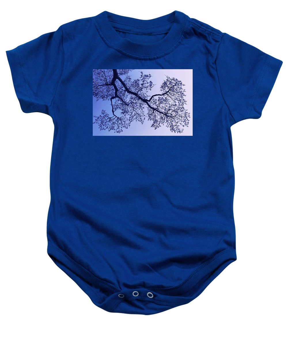 Tree Baby Onesie featuring the photograph Pink And Blues by Iryna Goodall