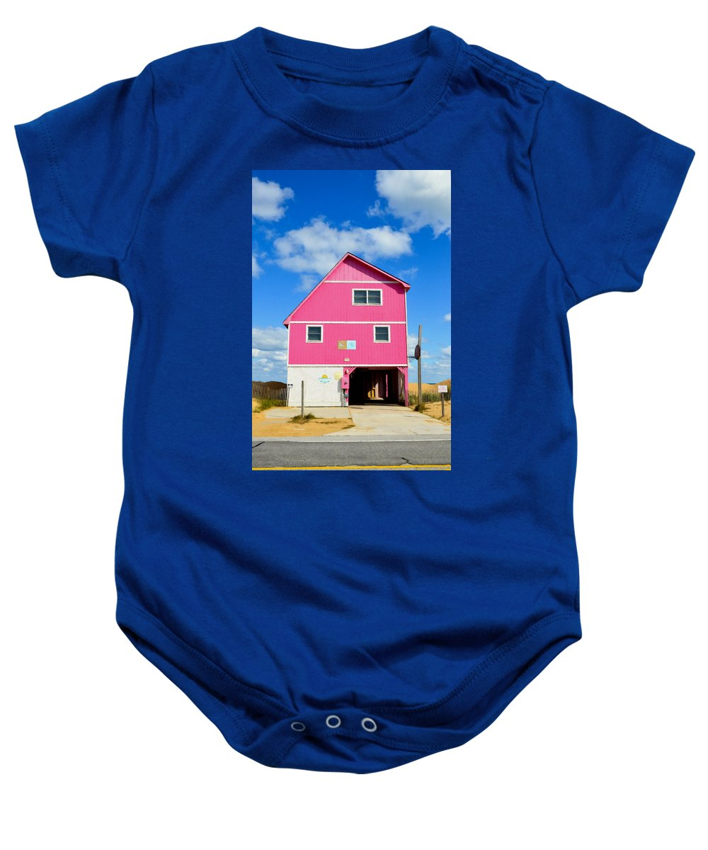 Pink House On The Beach Baby Onesie featuring the painting Pink House On The Beach 3 by Jeelan Clark