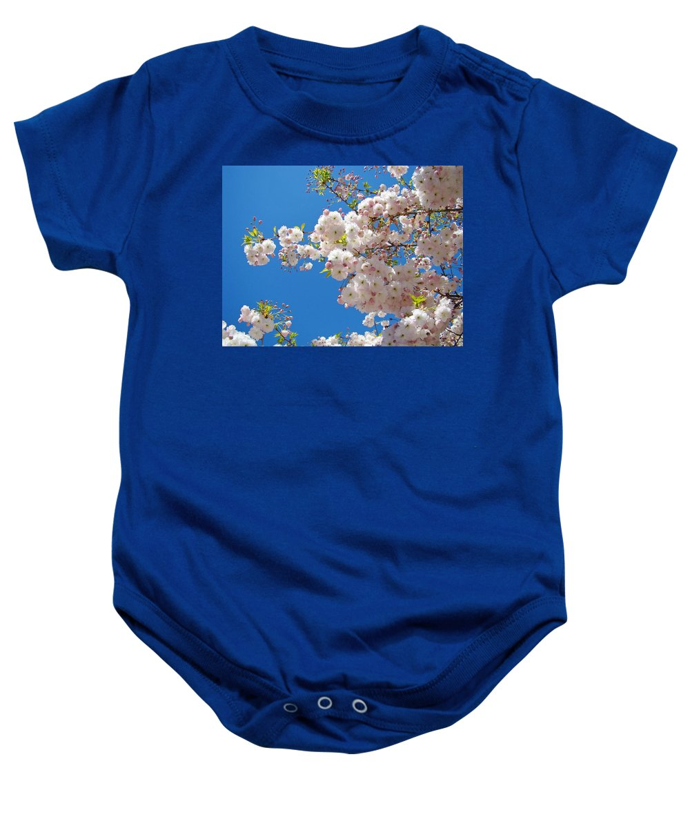 �blossoms Artwork� Baby Onesie featuring the photograph Pink Tree Blossoms Art Prints 55 Spring Flowers Blue Sky Landscape by Baslee Troutman