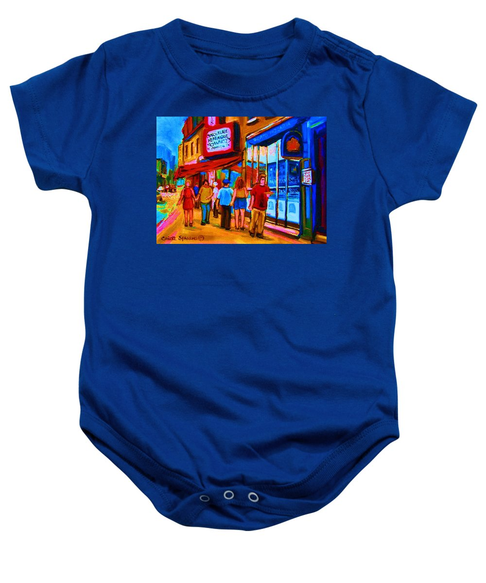 Schwartzs Hebrew Deli Baby Onesie featuring the painting Pizza To Go by Carole Spandau