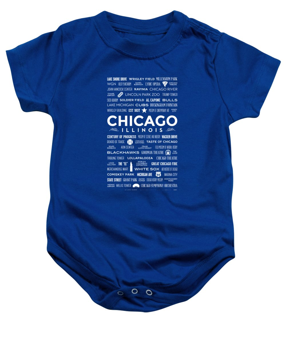 7b608b6b9e3e Places Of Chicago On Blue Chalkboard Onesie for Sale by Christopher Arndt