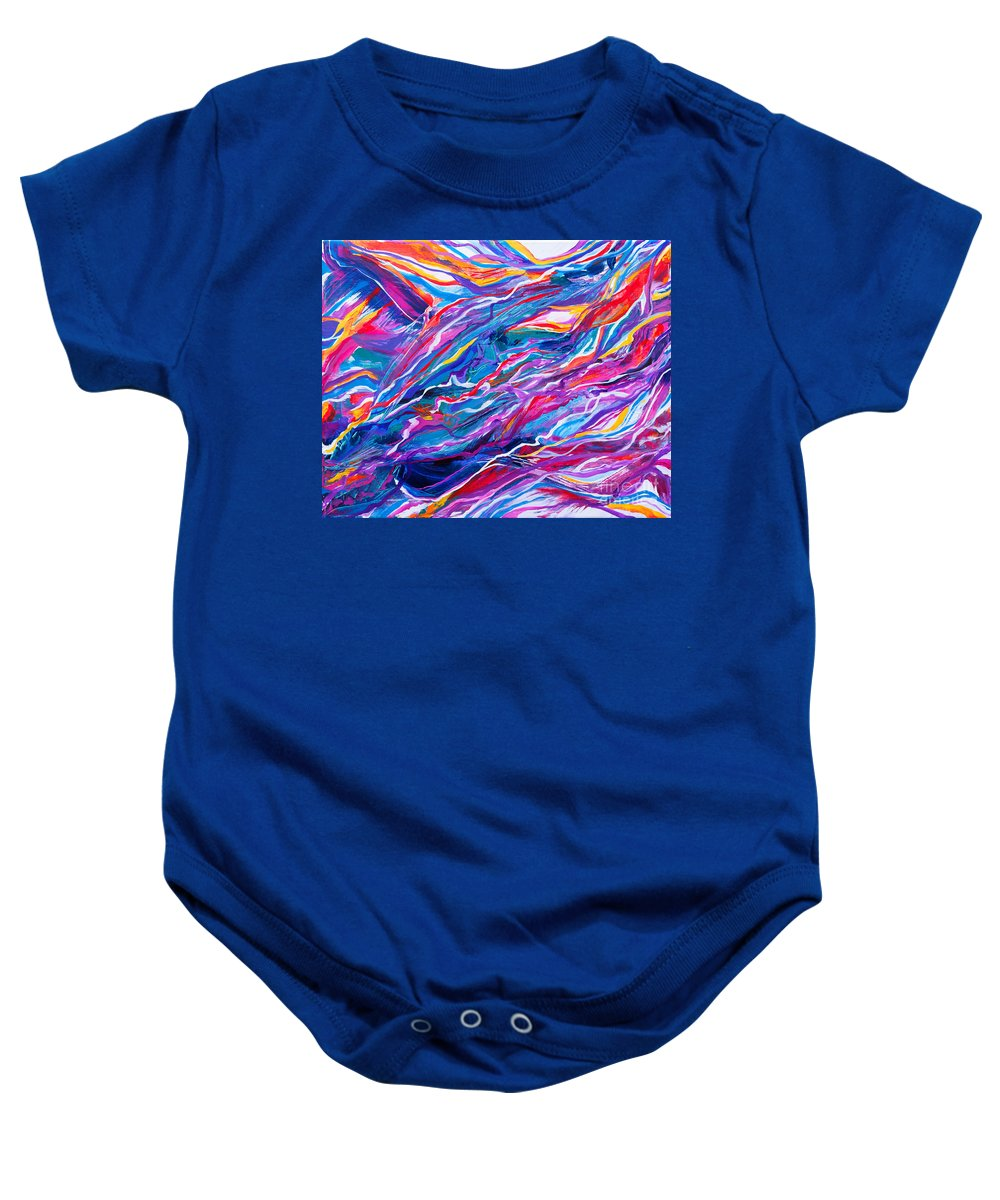 Filaments Lines Strokes Rushing Water Full Of Vibrant Color And Dynamic Movement Energy Contemporary Original Abstract Baby Onesie featuring the painting Playful stream by Priscilla Batzell Expressionist Art Studio Gallery