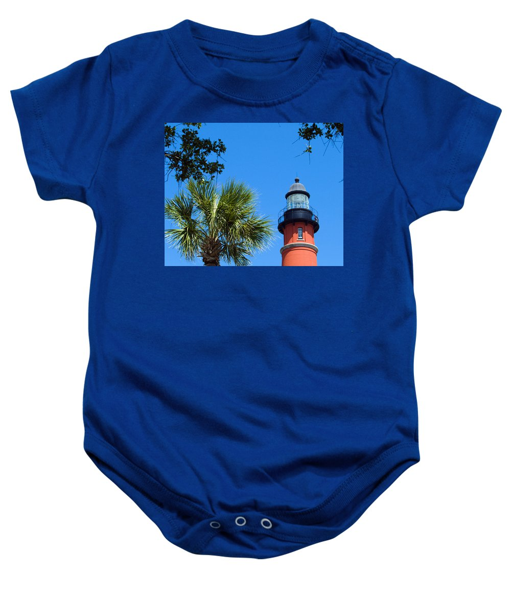 Ponce; De; Leon; Lighthouse; Light; House; Beacon; Navigation; Aid; Lens; Fresnel; Mosquito; Florida Baby Onesie featuring the photograph Ponce Del Leon Inlet Florida by Allan Hughes
