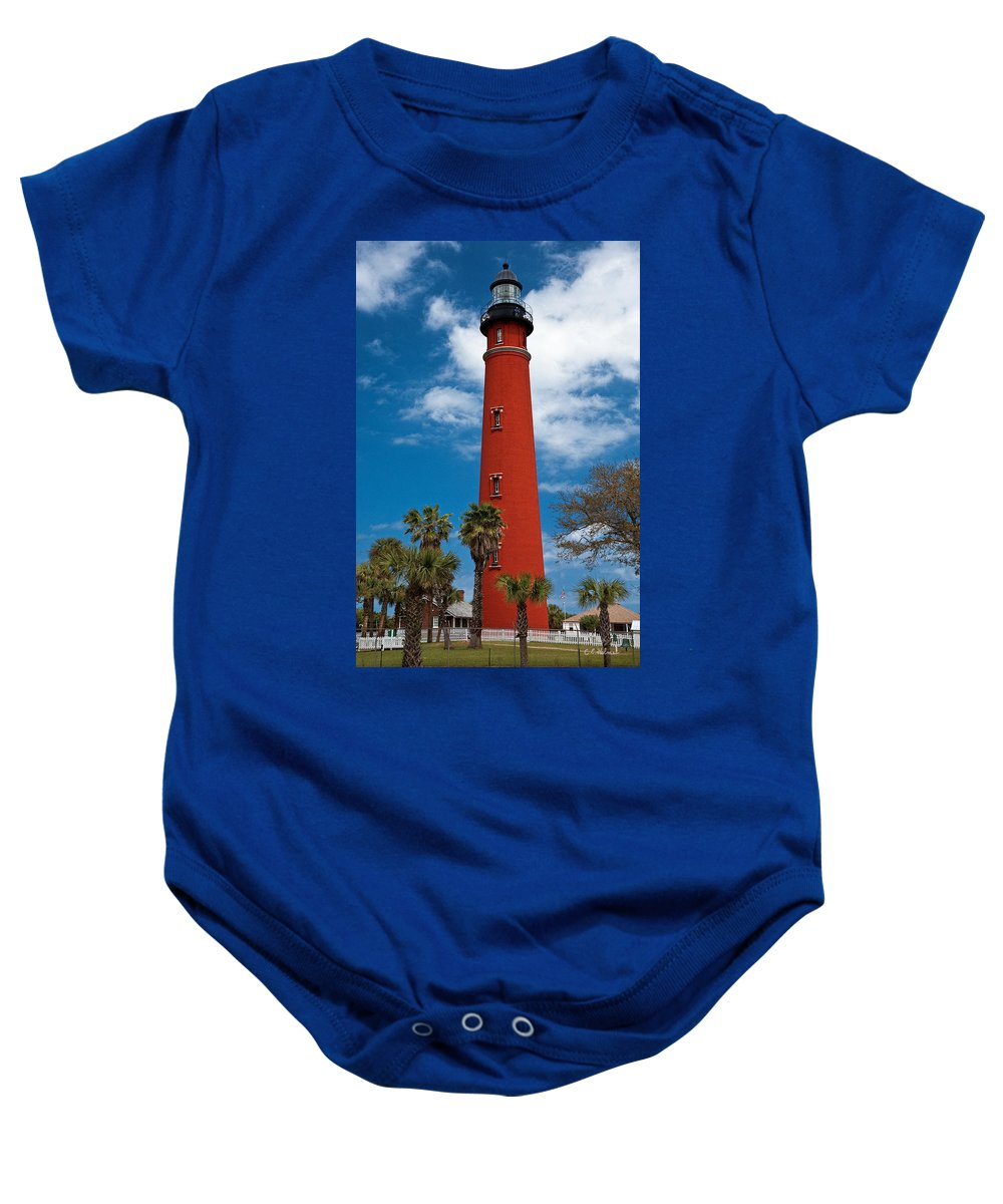 Lighthouse Baby Onesie featuring the photograph Ponce Inlet Lighthouse by Christopher Holmes