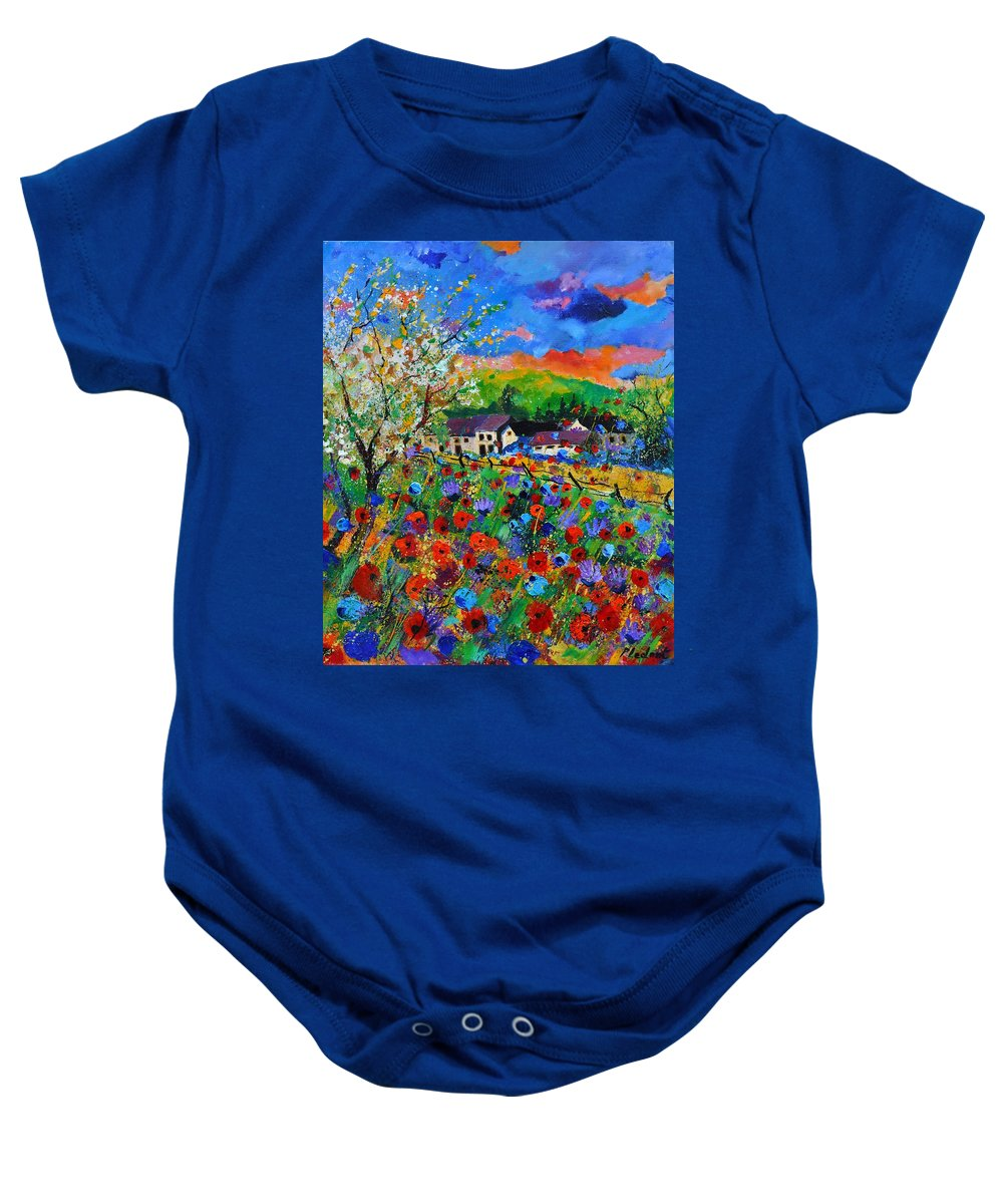 Poppies Baby Onesie featuring the painting Poppies in Sorinnes by Pol Ledent