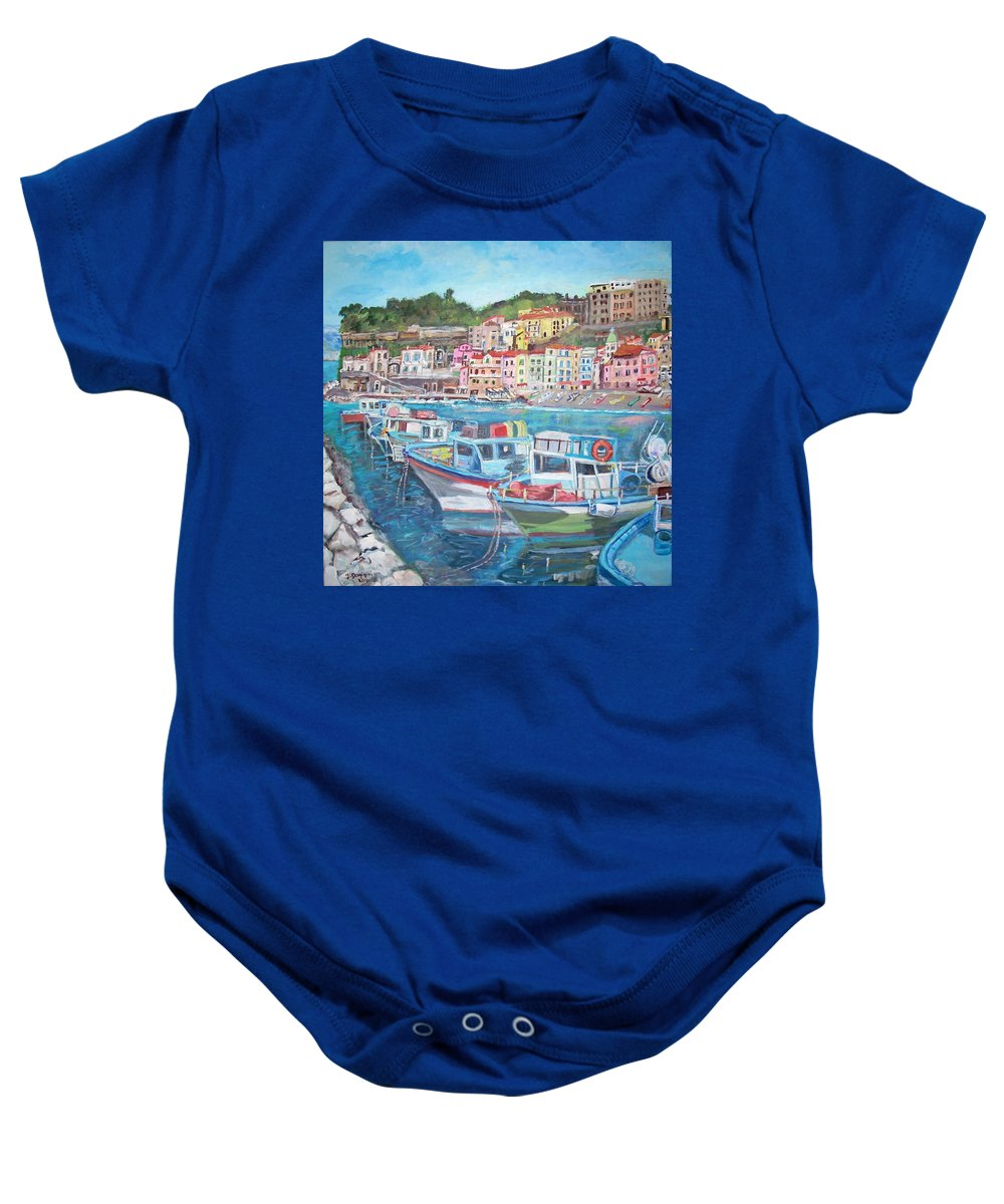 Marina Baby Onesie featuring the painting Port Of The Marina Grande by Teresa Dominici