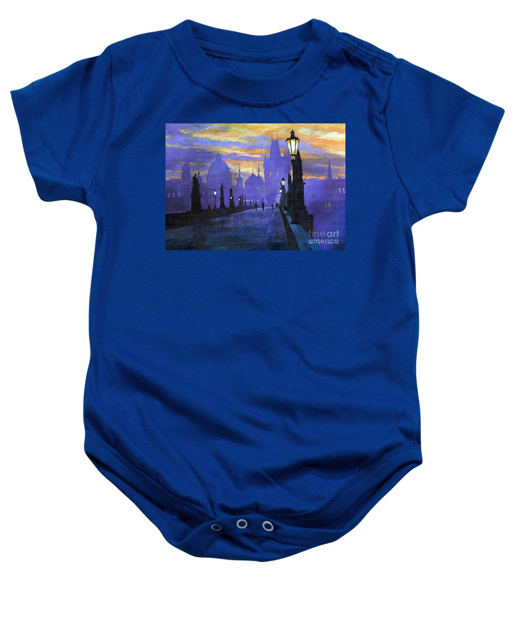 Acrilic On Canvas Baby Onesie featuring the painting Prague Charles Bridge Sunrise by Yuriy Shevchuk