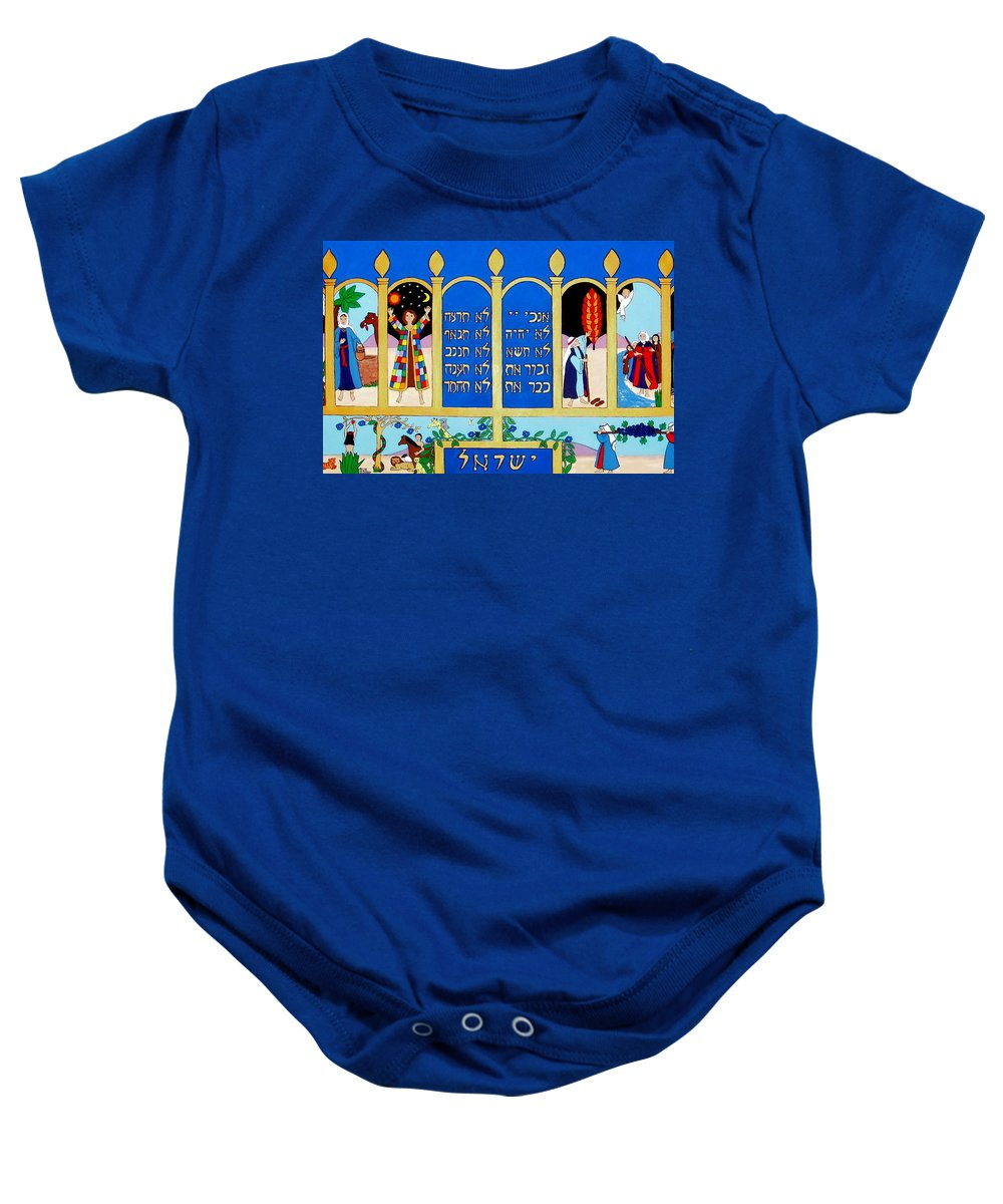 Adam And Eve Baby Onesie featuring the painting Promised Land by Stephanie Moore