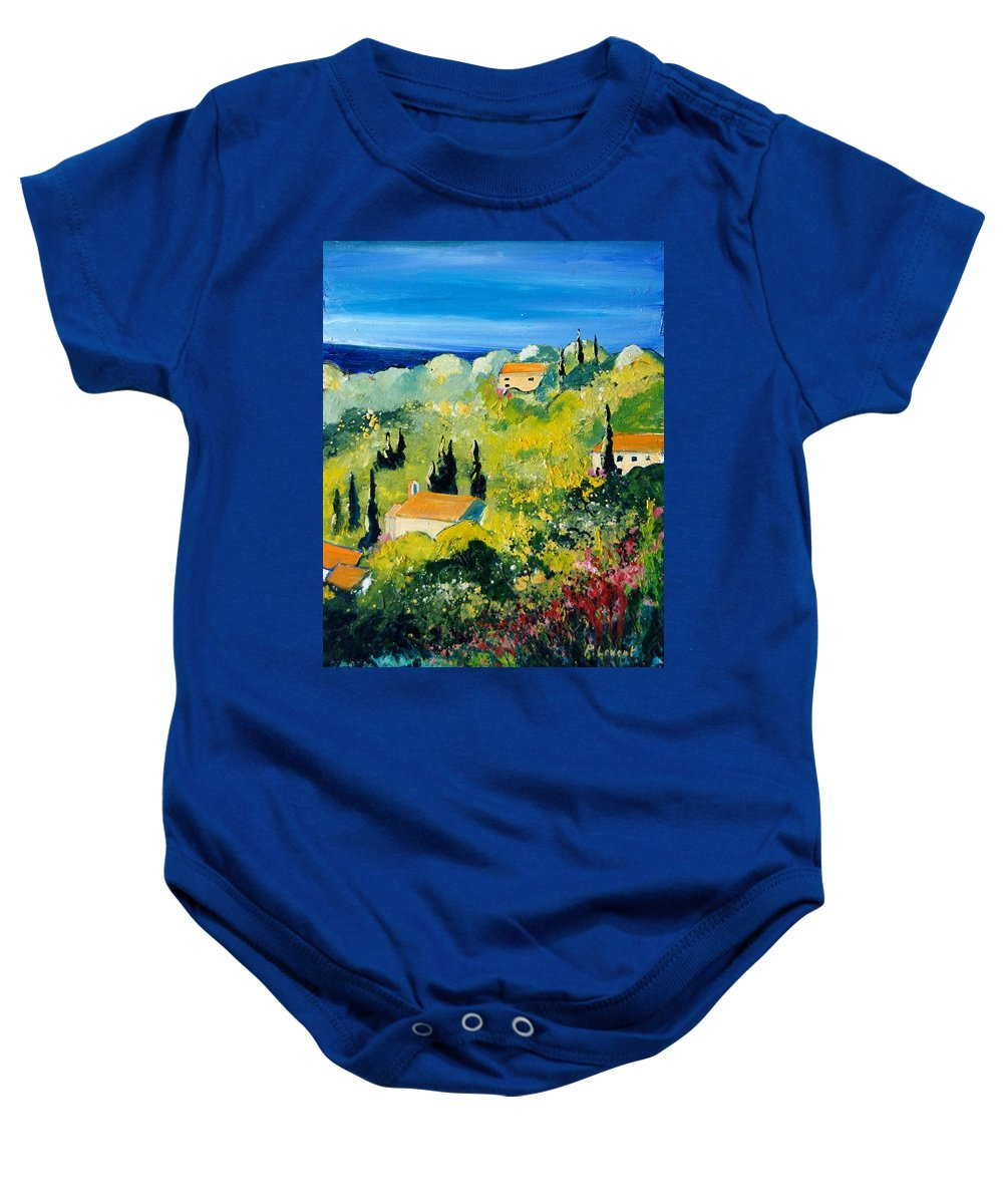 Village Baby Onesie featuring the painting Provence 459070 by Pol Ledent
