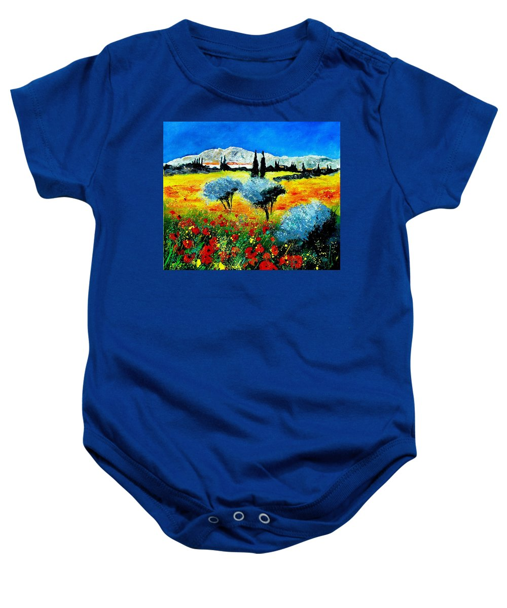 Poppies Baby Onesie featuring the painting Provence by Pol Ledent
