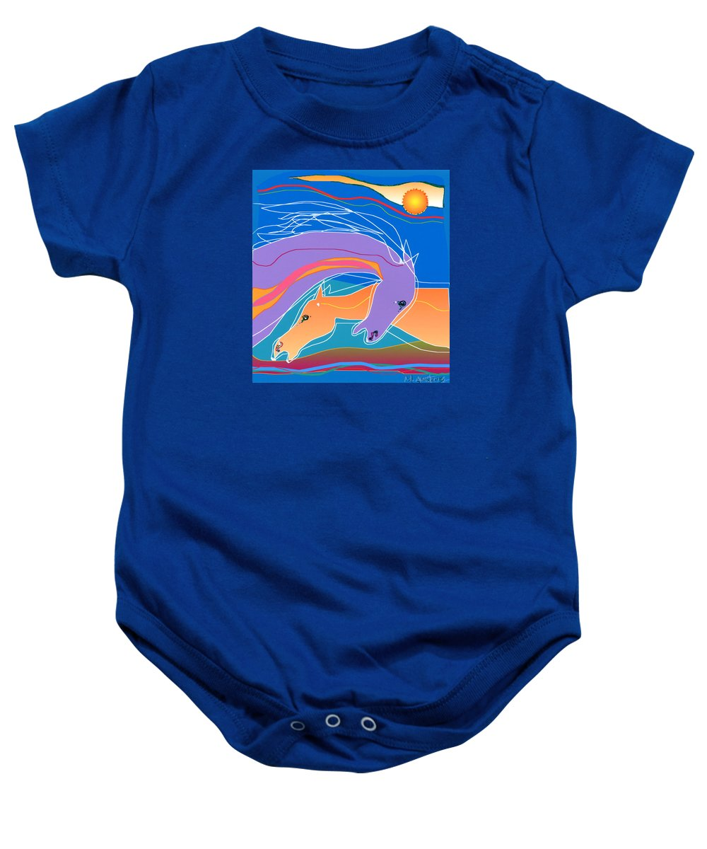 Horses Baby Onesie featuring the digital art Purple And Gold by Mary Armstrong