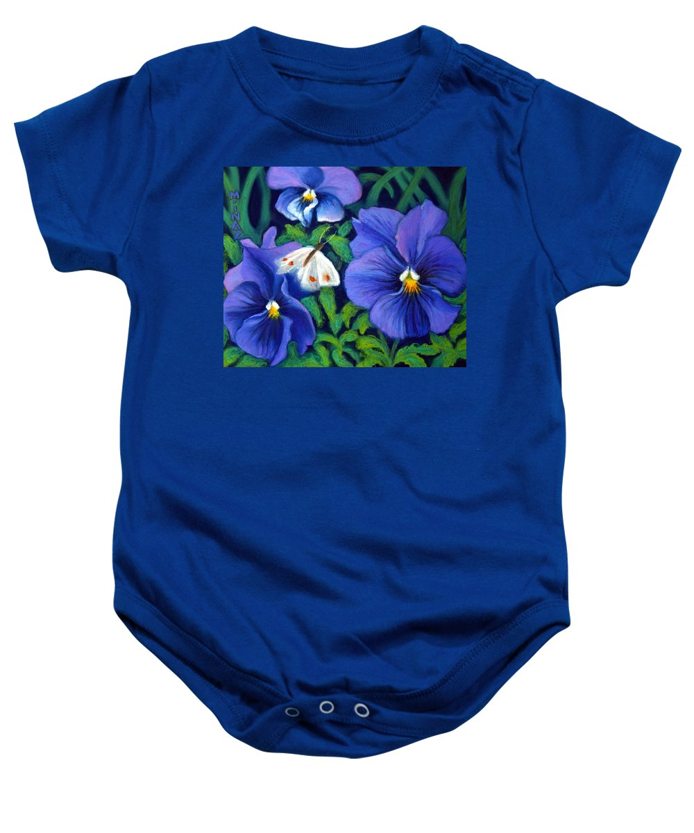 Pansy Baby Onesie featuring the painting Purple Pansies And White Moth by Minaz Jantz