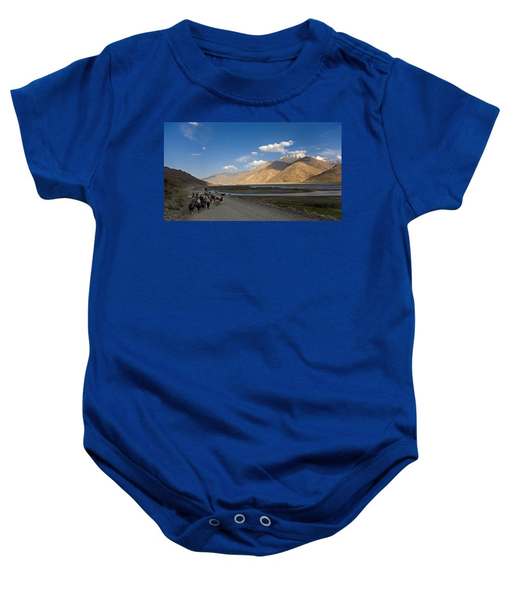 Animal Baby Onesie featuring the photograph Pyandzh Valley by Konstantin Dikovsky