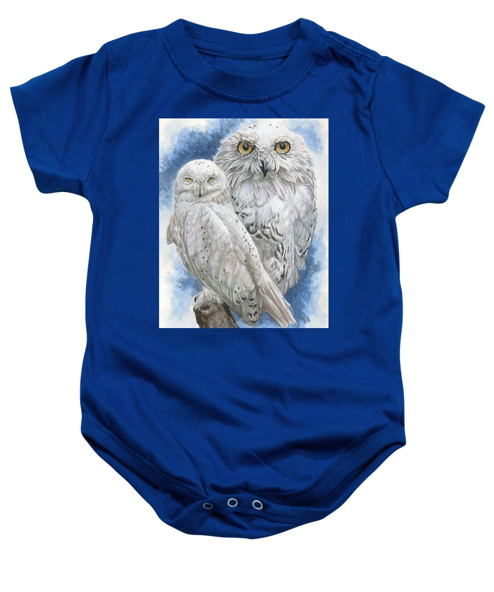 Snowy Owl Baby Onesie featuring the mixed media Radiant by Barbara Keith