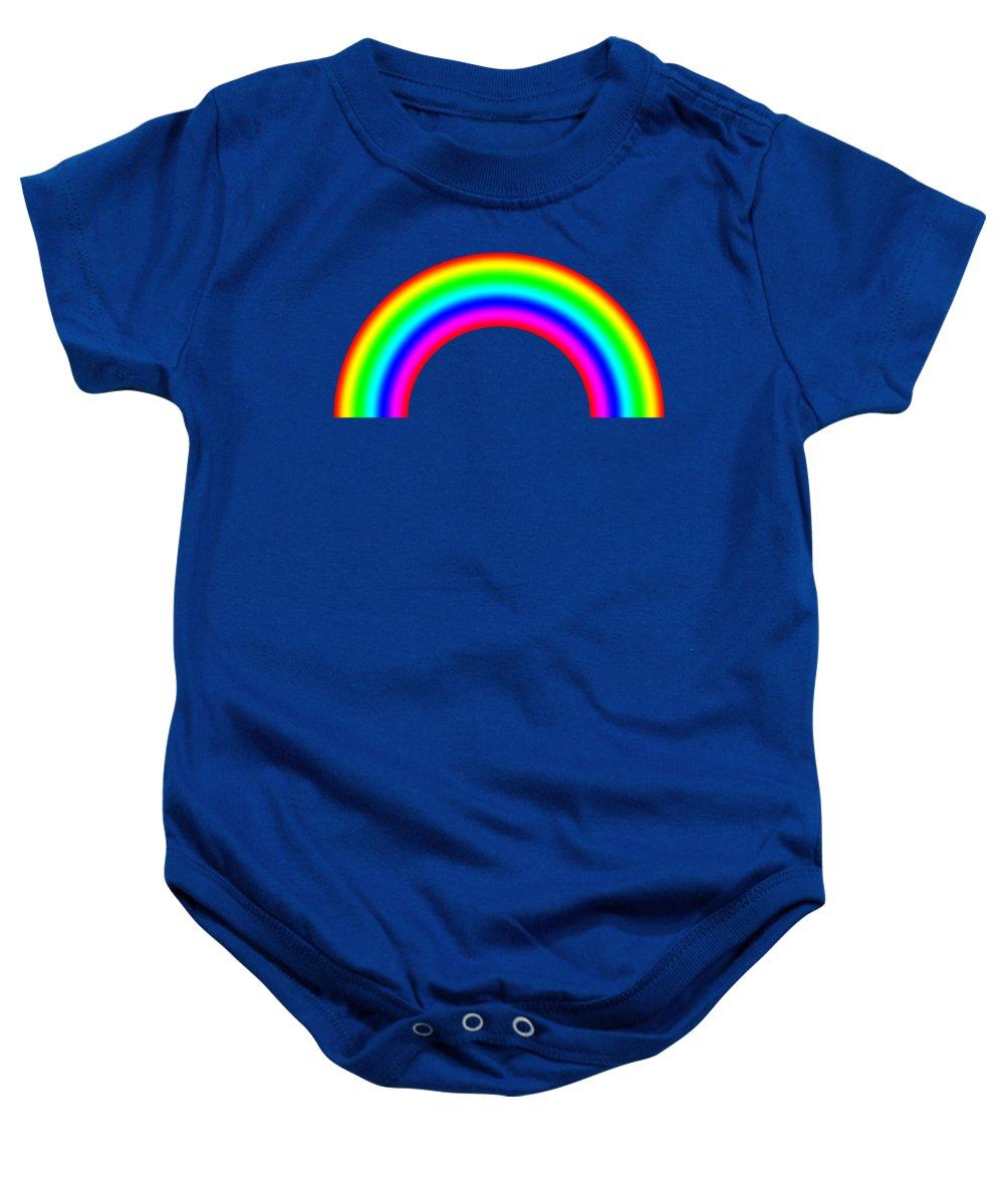 Abstract Baby Onesie featuring the digital art Rainbow On Sky by Miroslav Nemecek