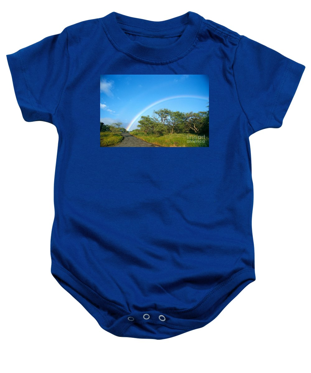 Arch Baby Onesie featuring the photograph Rainbow Over Treetops by Peter French - Printscapes