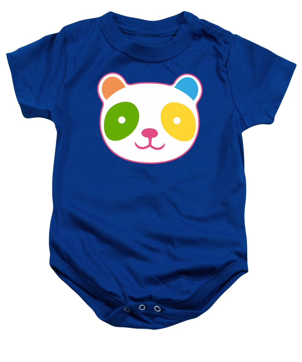 Panda Baby Onesie featuring the digital art Rainbow Panda by Julia Jasiczak