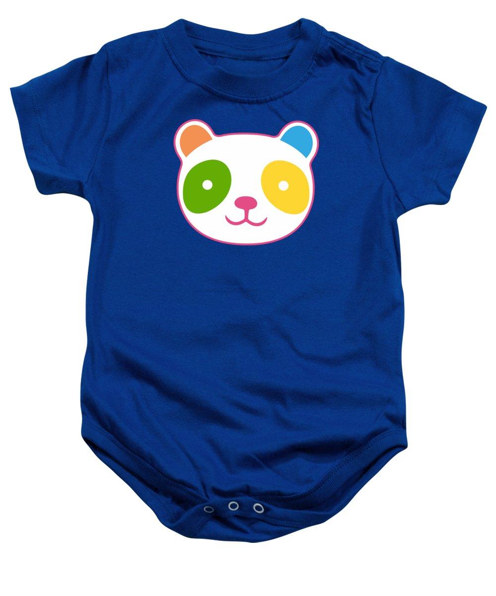 Panda Baby Onesie featuring the digital art Rainbow Panda by Julia Jasiczak