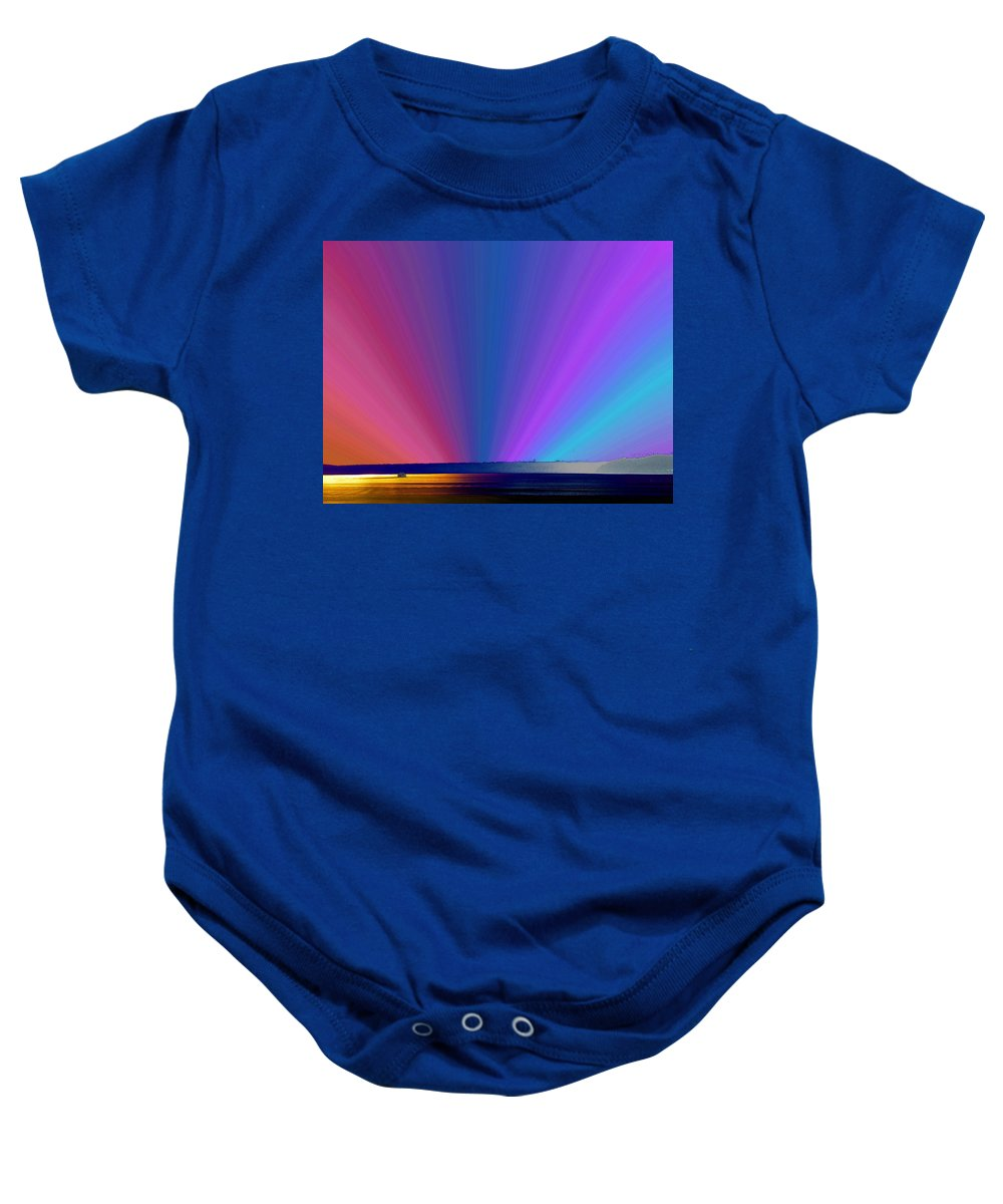 Ferry Baby Onesie featuring the photograph Rainbow Setting by Tim Allen