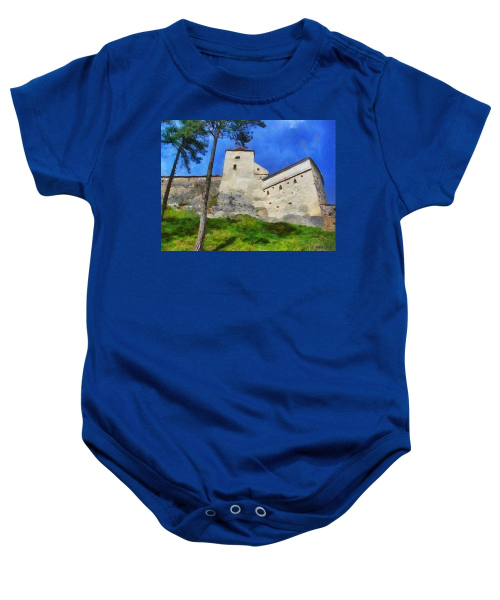 Fortress Baby Onesie featuring the painting Rasnov Fortress by Jeffrey Kolker