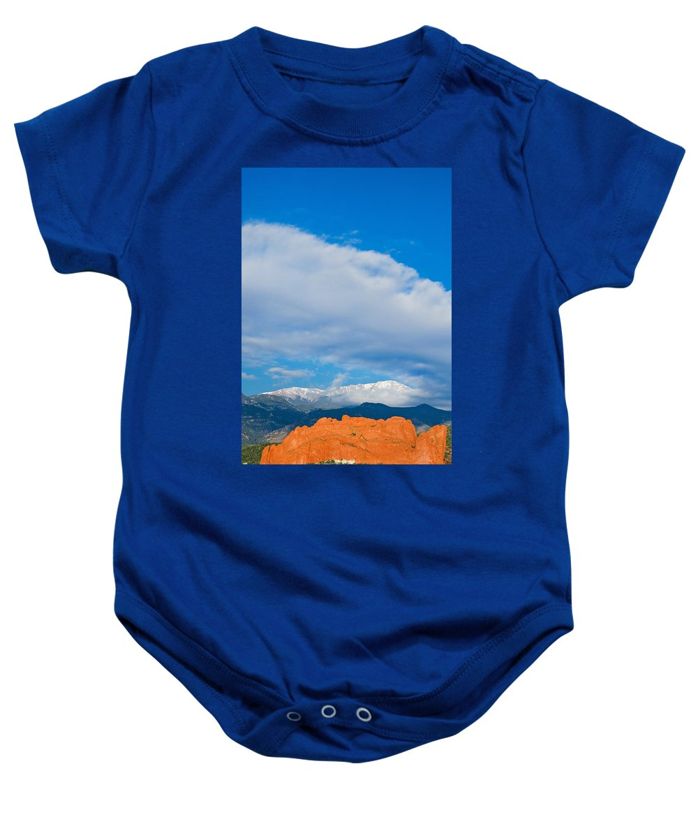 The Kissing Camels Baby Onesie featuring the photograph Reaching The Clouds Above Fourteen Thousand Feet by Bijan Pirnia