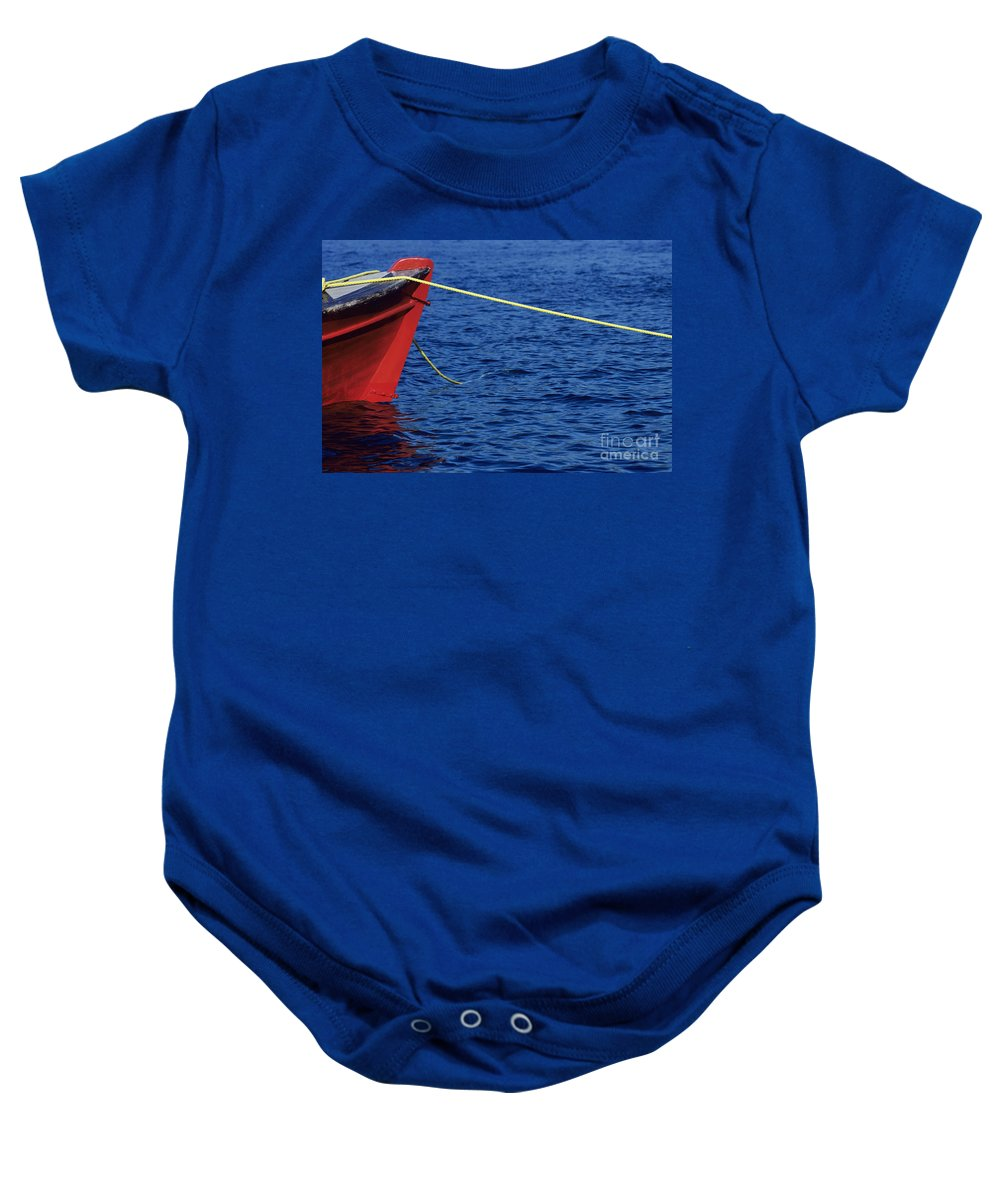 Anchor Baby Onesie featuring the photograph Red Boat by Larry Dale Gordon - Printscapes