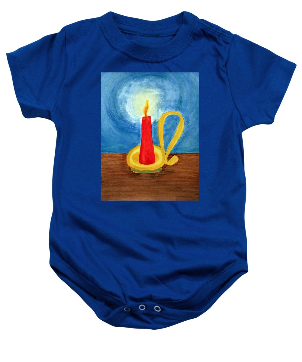 Art Baby Onesie featuring the painting Red Candle Lighting Up The Dark Blue Night. by Lee Serenethos