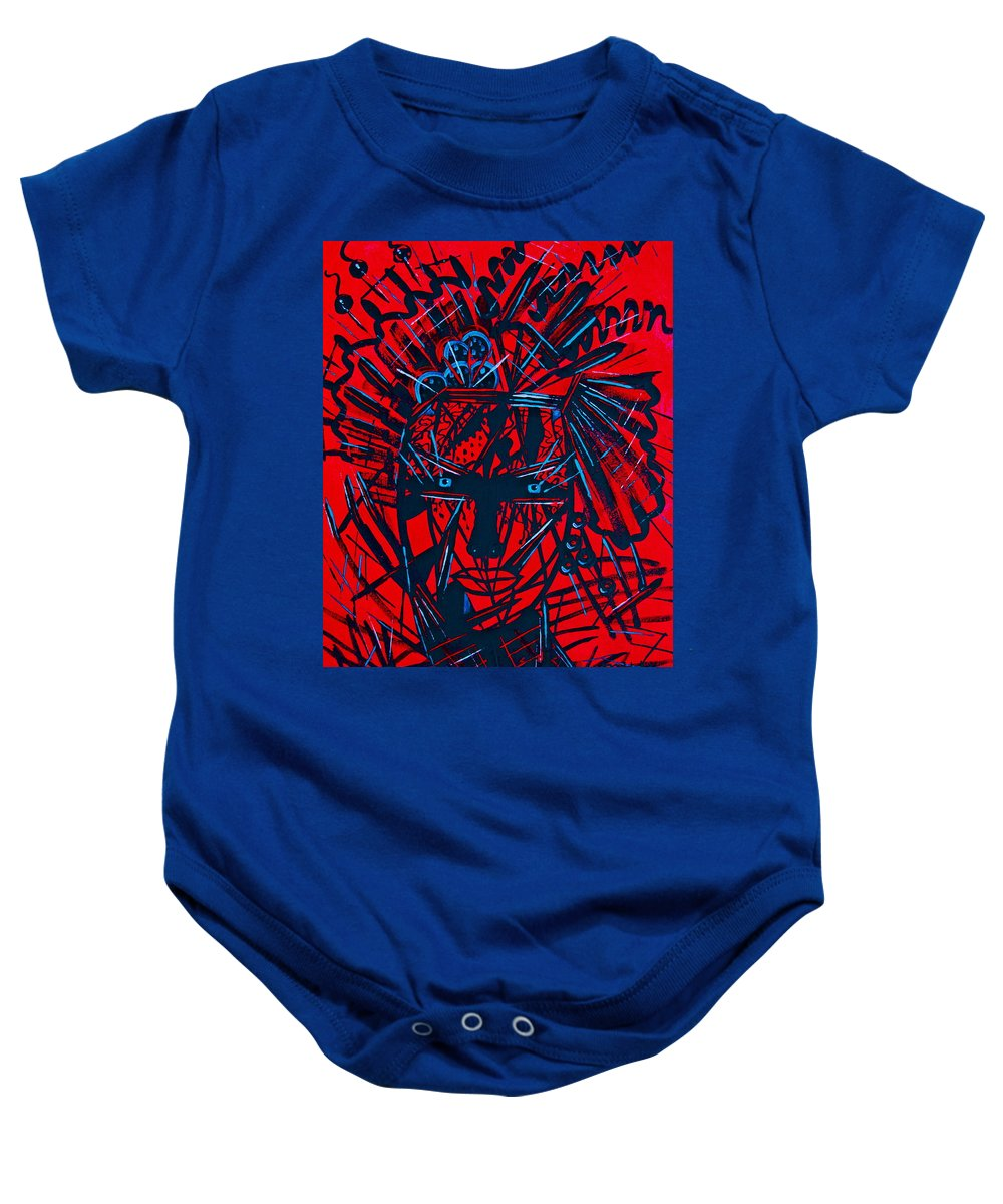 Abstract Baby Onesie featuring the painting Red Exotica by Natalie Holland