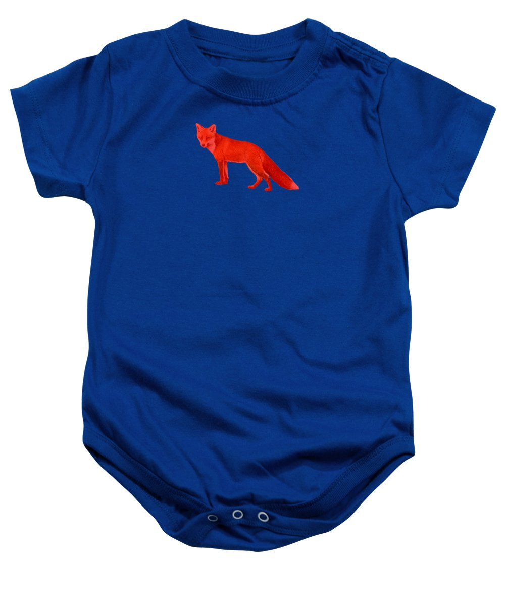 Red Baby Onesie featuring the photograph Red Fox Forest by Movie Poster Prints