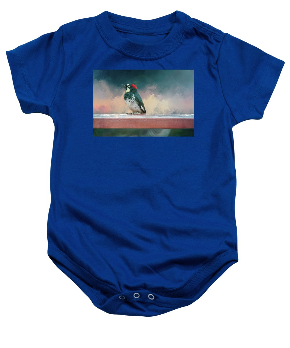 Photography Baby Onesie featuring the digital art Red Hat by Terry Davis