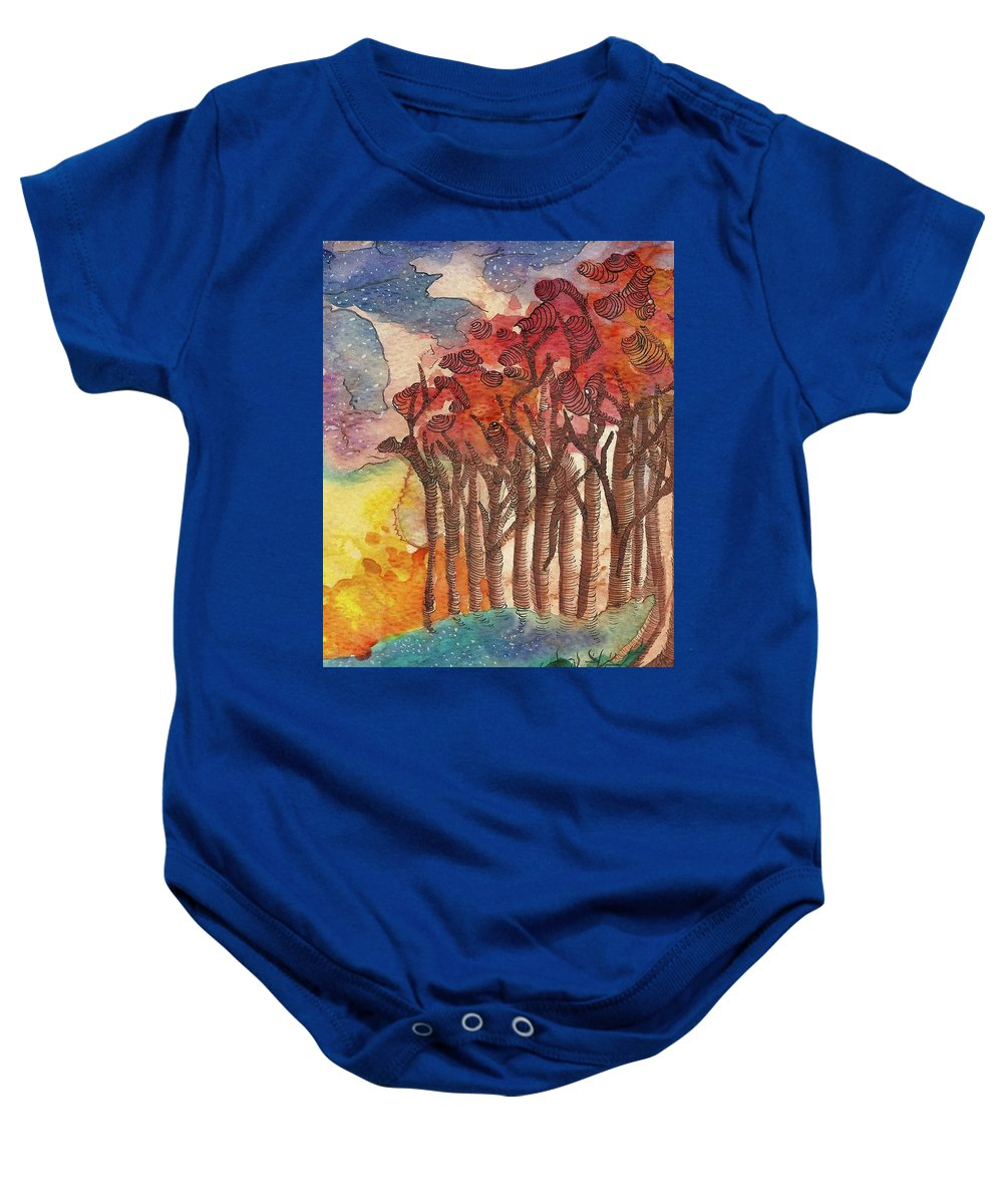 Trees Baby Onesie featuring the painting Red Trees by Aslinn Smith