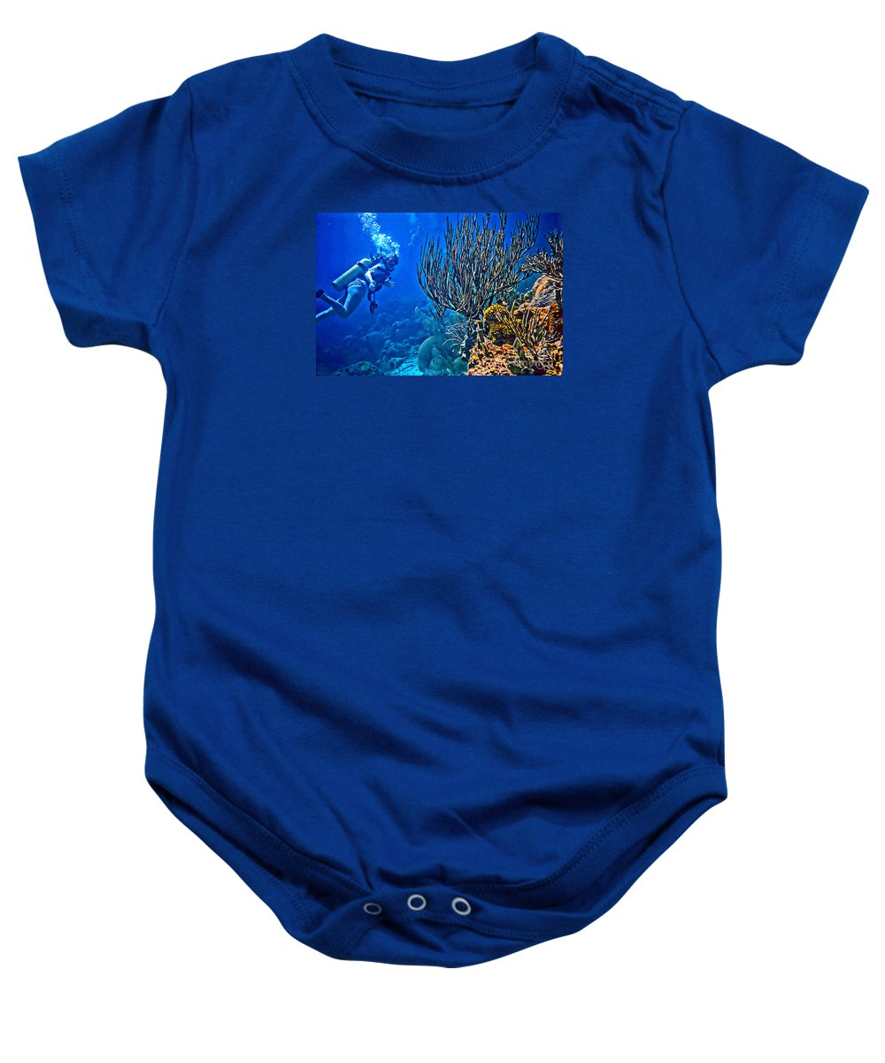 Scuba Baby Onesie featuring the photograph Reef Dive by JS Stewart
