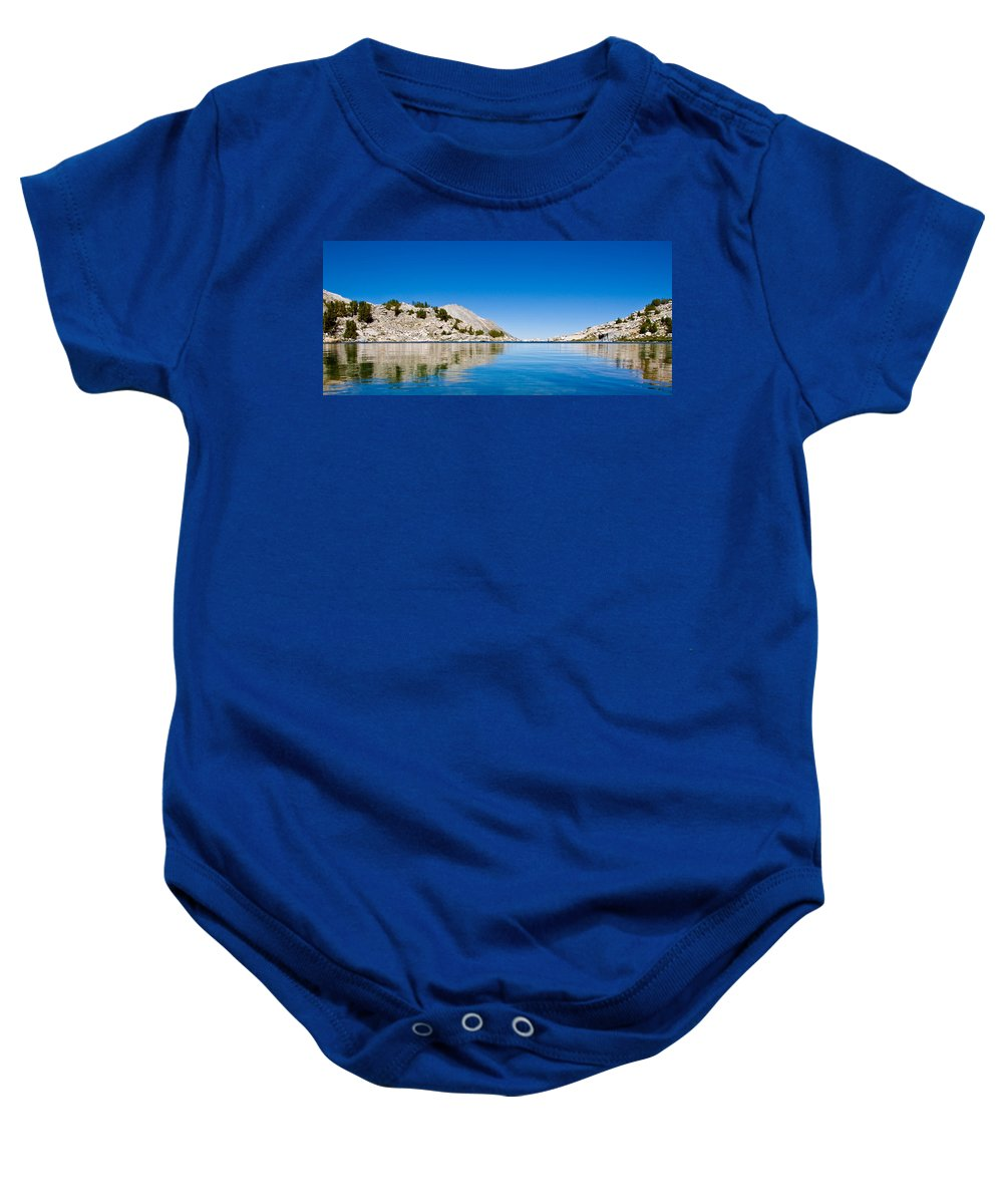 Treasure Lake Baby Onesie featuring the photograph Reflecting On Treasure by Chris Brannen