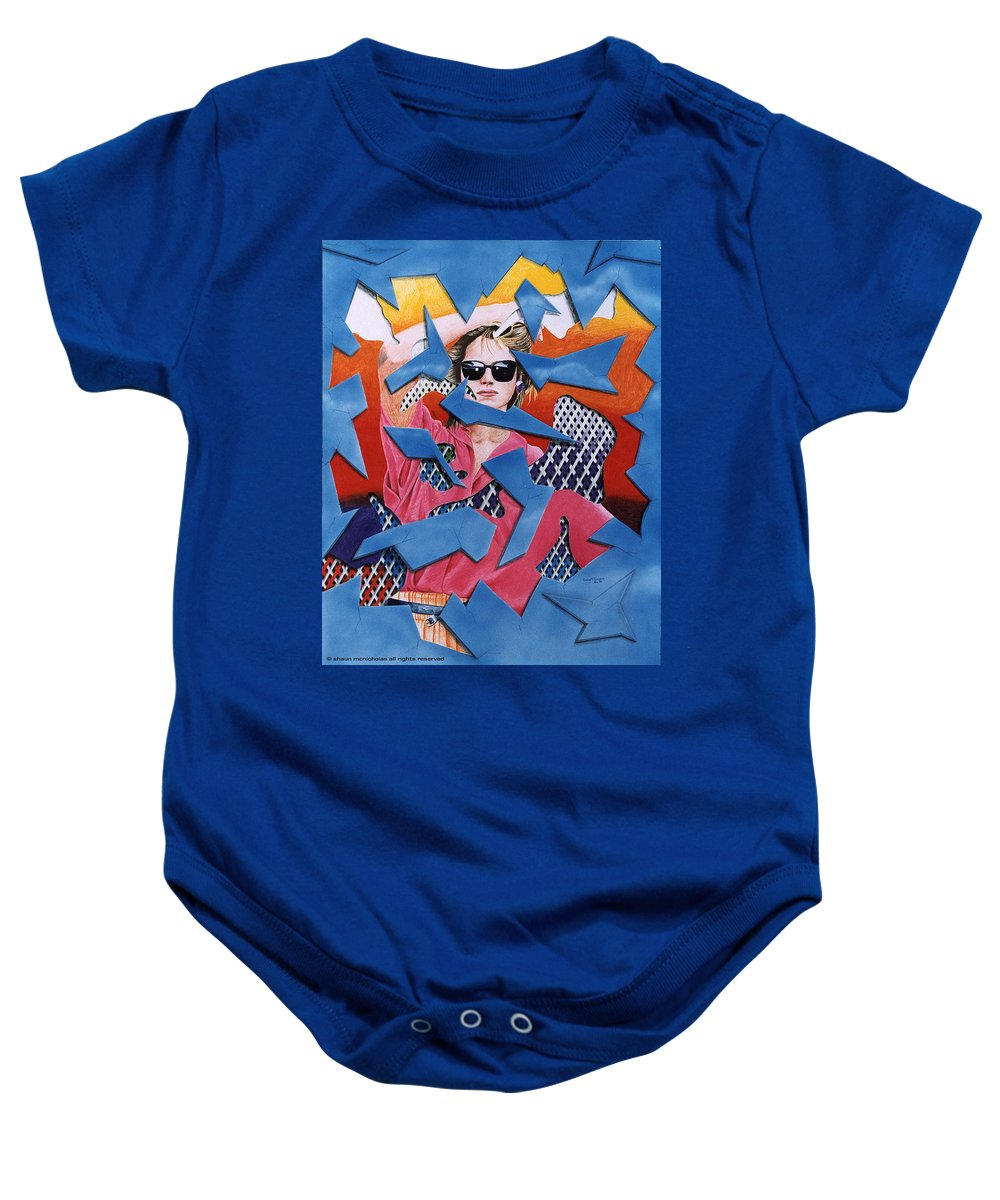 Woman Baby Onesie featuring the drawing Reflections by Shaun McNicholas
