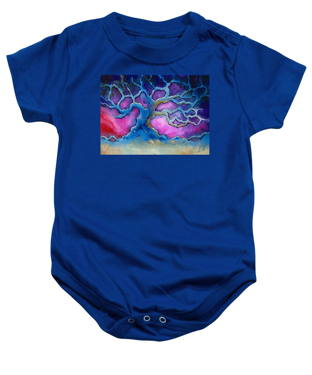 Landscape Baby Onesie featuring the painting Ria by Jennifer McDuffie