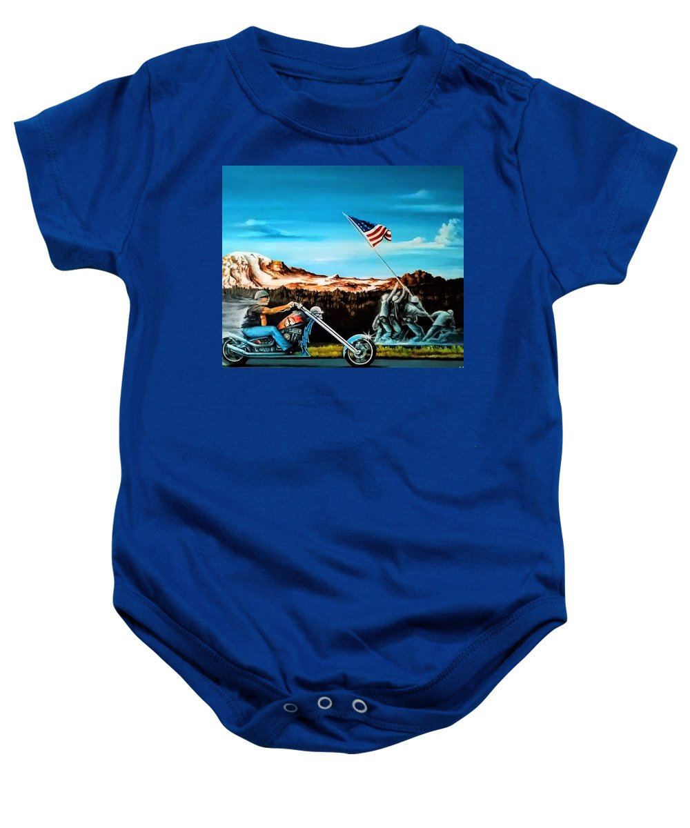 Iwojima Baby Onesie featuring the painting Ride Forever by DC Houle