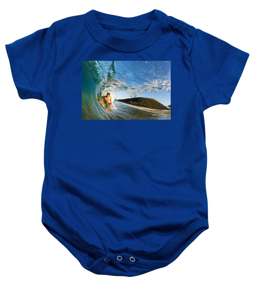 Action Baby Onesie featuring the photograph Riding Barrel At Makena by MakenaStockMedia - Printscapes