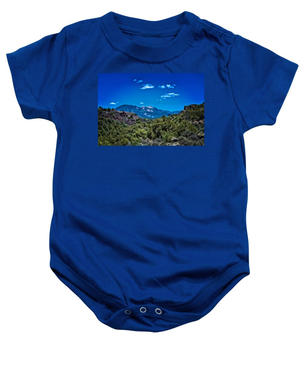 Taos Mountain Rio Hondo Arroyo Landscape Baby Onesie featuring the photograph Rio Hondo Arroyo View by Charles Muhle
