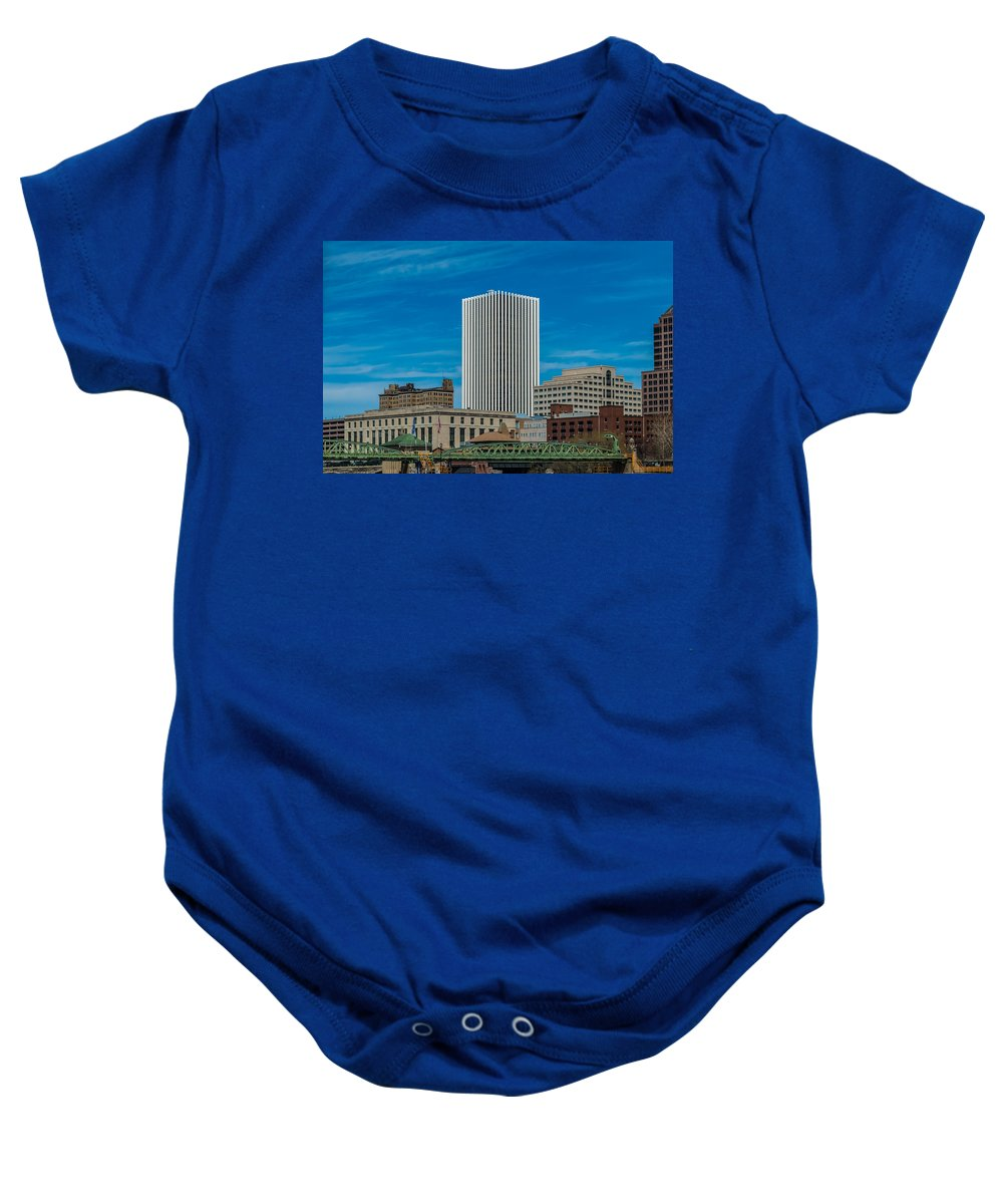 New York Baby Onesie featuring the photograph Rochester Across The River by Ray Sheley
