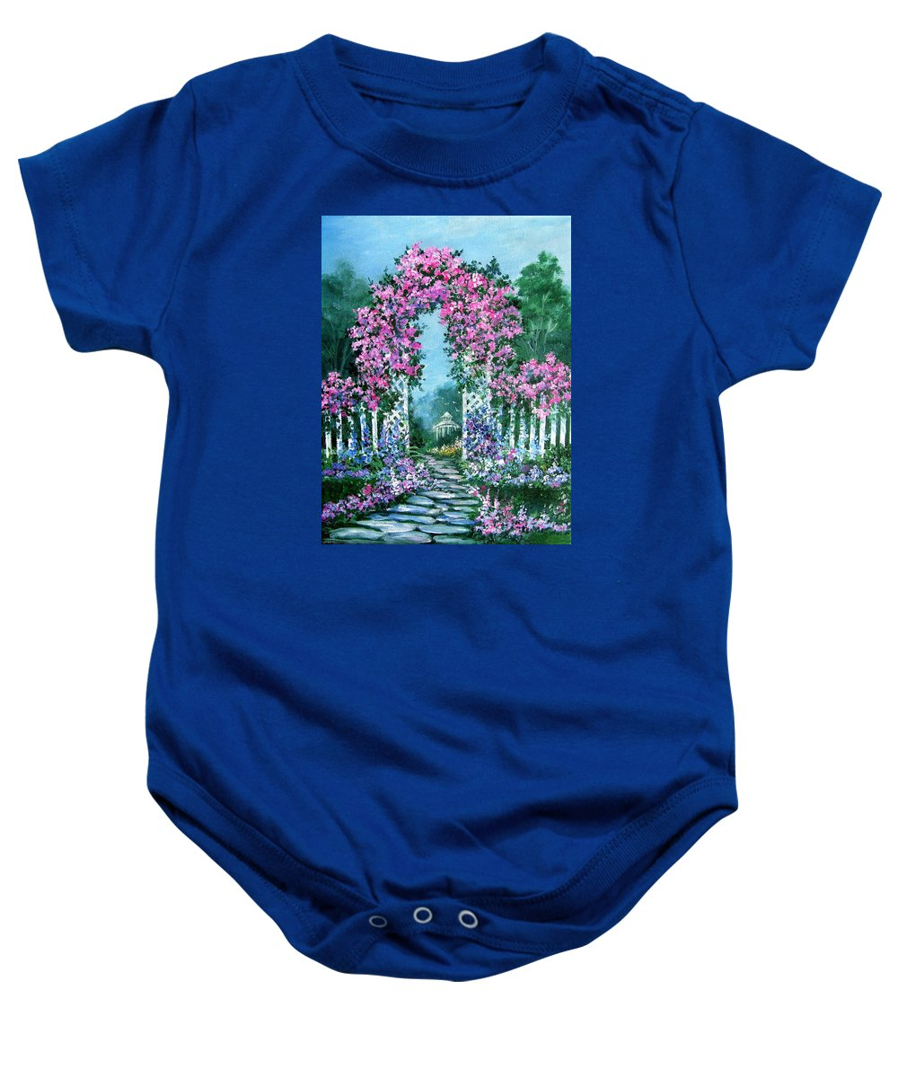 Roses;floral;garden;picket Fence;arch;trellis;garden Walk;flower Garden; Baby Onesie featuring the painting Rose-covered Trellis by Lois Mountz