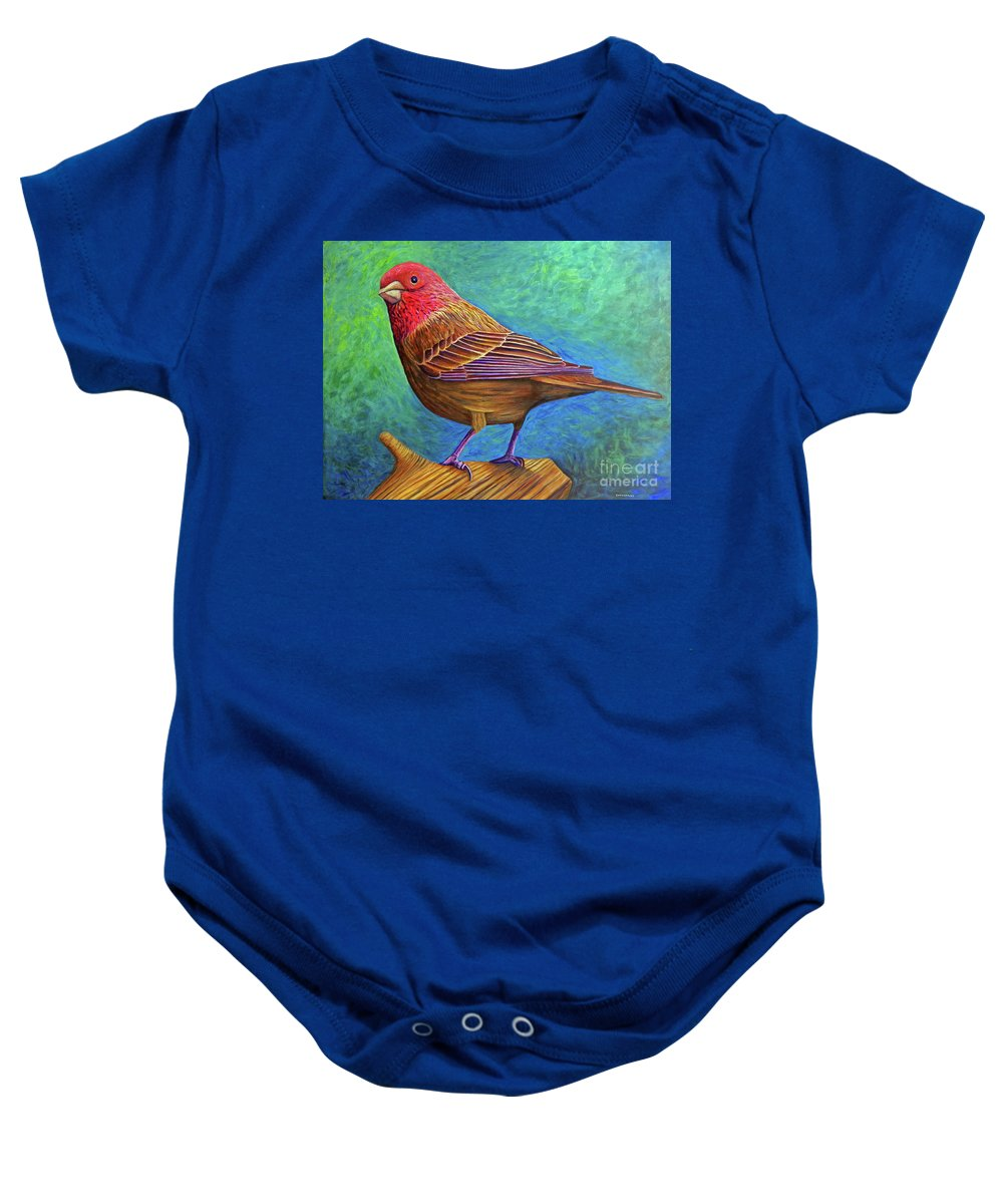 Bird Baby Onesie featuring the painting Sacred Space by Brian Commerford