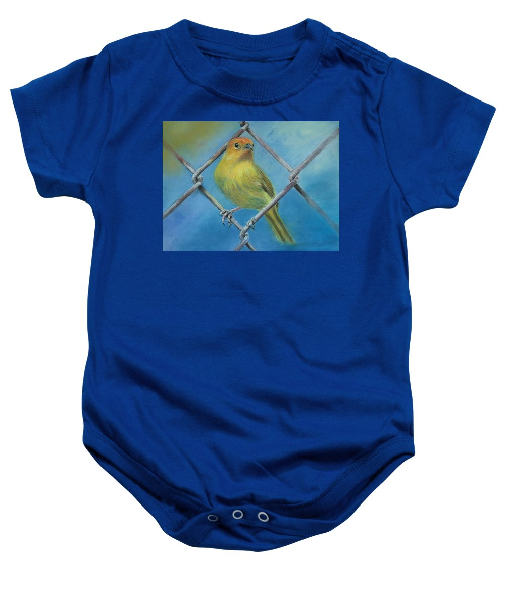 Bird Baby Onesie featuring the painting Safron Finch by Ceci Watson