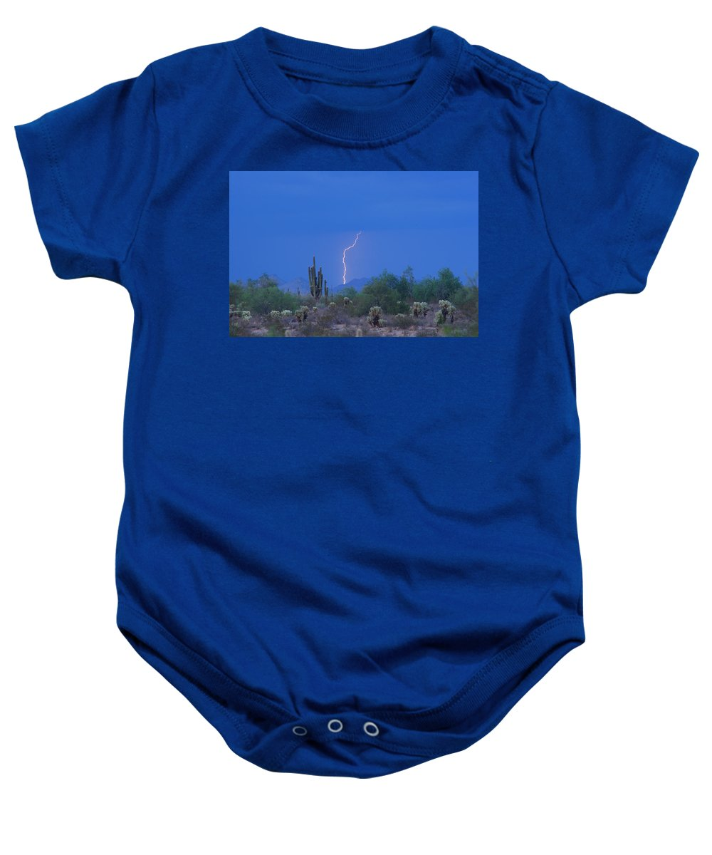Lightning Baby Onesie featuring the photograph Saguaro Desert Lightning Strike Fine Art by James BO Insogna